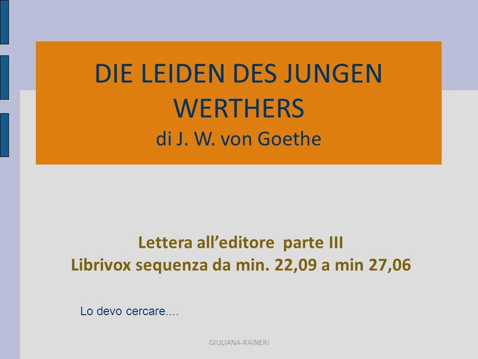 DIE LEIDEN DES JUNGEN WERTHERS di J. W.