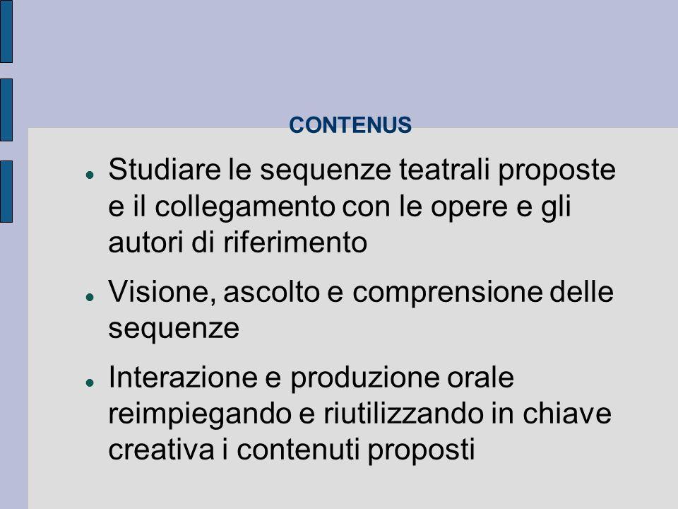 CONTENUS Studiare le sequenze teatrali proposte e il collegamento con le opere e gli autori di riferimento Visione, ascolto e comprensione delle sequenze Interazione e produzione orale reimpiegando e riutilizzando in chiave creativa i contenuti proposti