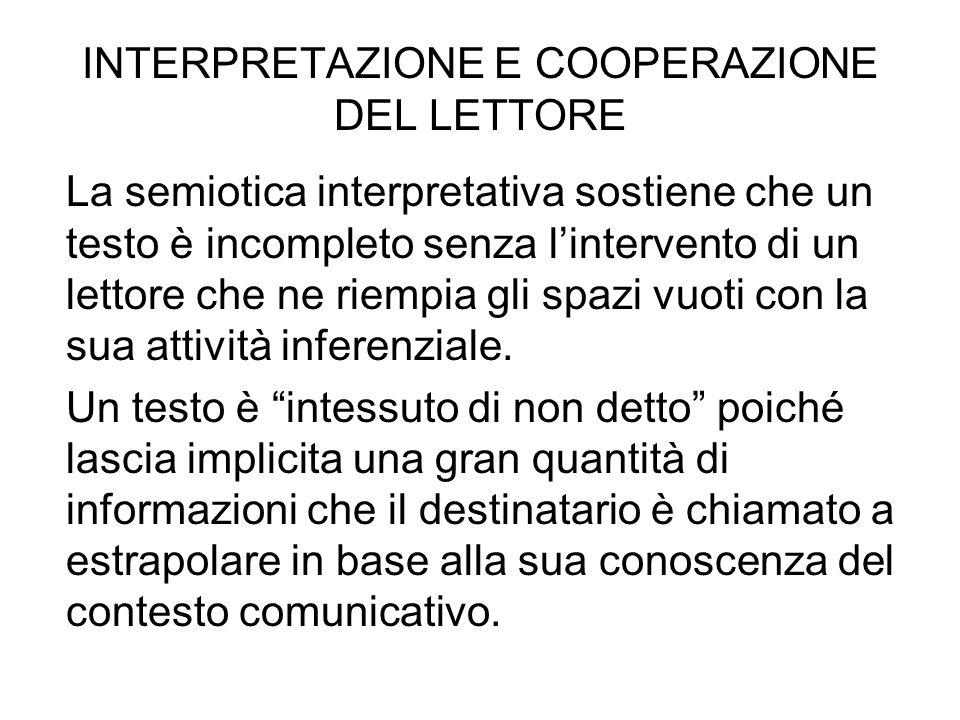 INTERPRETAZIONE E COOPERAZIONE DEL LETTORE La semiotica interpretativa sostiene che un testo è incompleto senza lintervento di un lettore che ne riemp