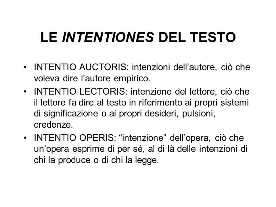 LE INTENTIONES DEL TESTO INTENTIO AUCTORIS: intenzioni dellautore, ciò che voleva dire lautore empirico. INTENTIO LECTORIS: intenzione del lettore, ci