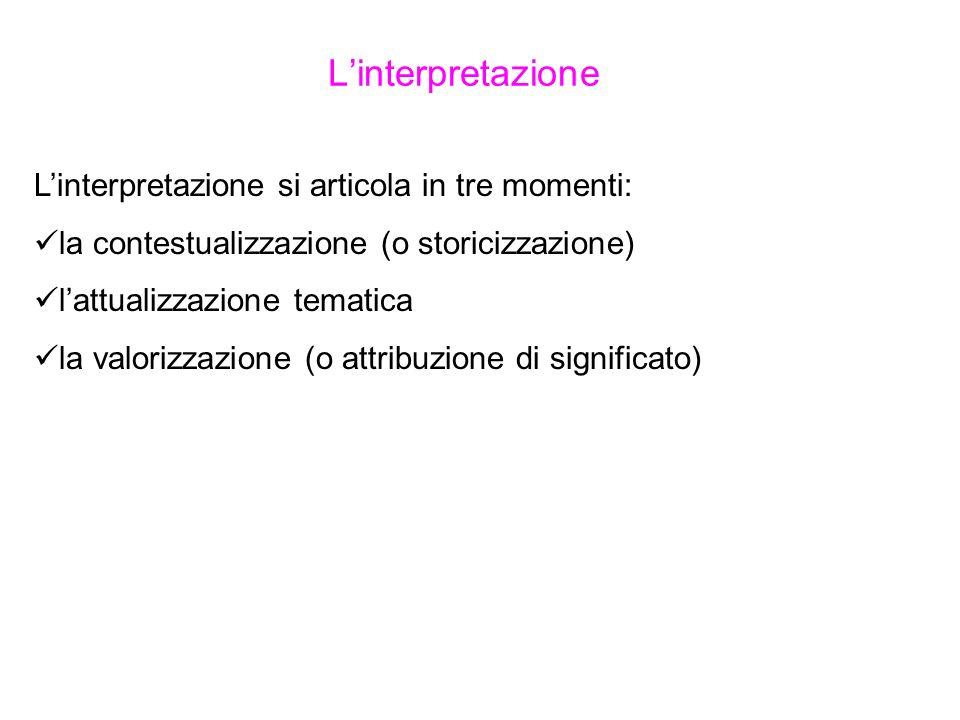 Linterpretazione Linterpretazione si articola in tre momenti: la contestualizzazione (o storicizzazione) lattualizzazione tematica la valorizzazione (