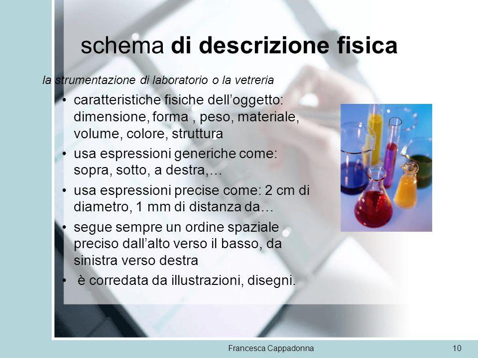Francesca Cappadonna10 schema di descrizione fisica la strumentazione di laboratorio o la vetreria caratteristiche fisiche delloggetto: dimensione, fo