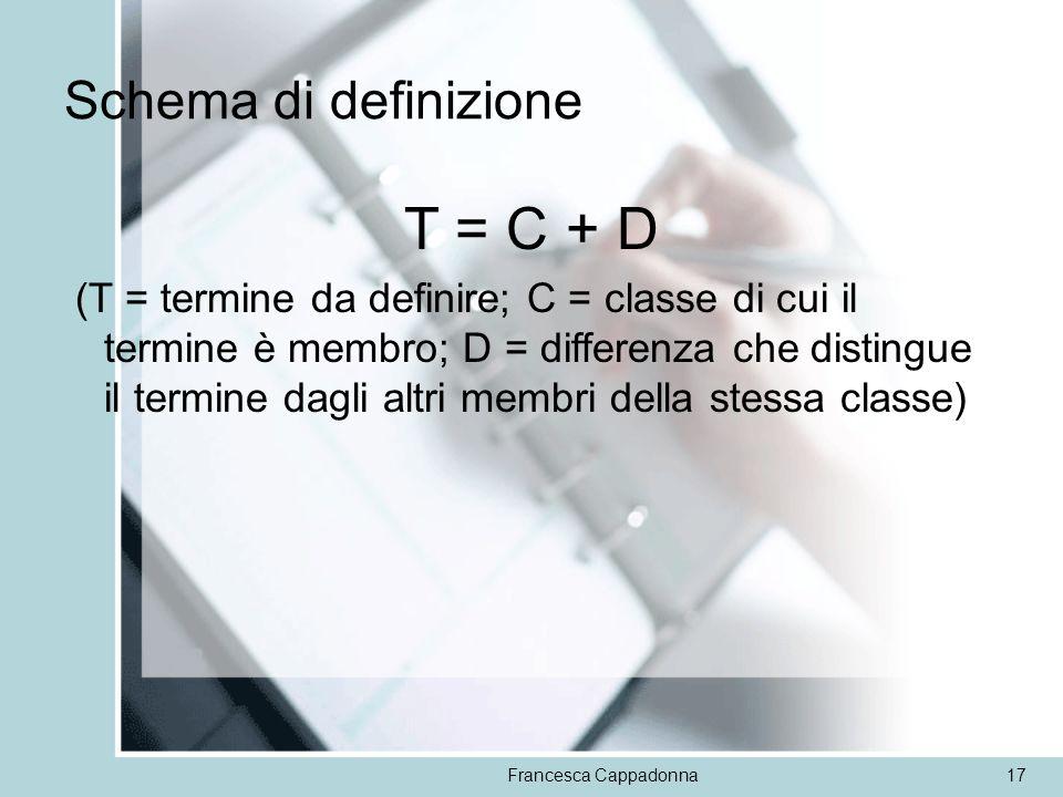Francesca Cappadonna17 Schema di definizione T = C + D (T = termine da definire; C = classe di cui il termine è membro; D = differenza che distingue i