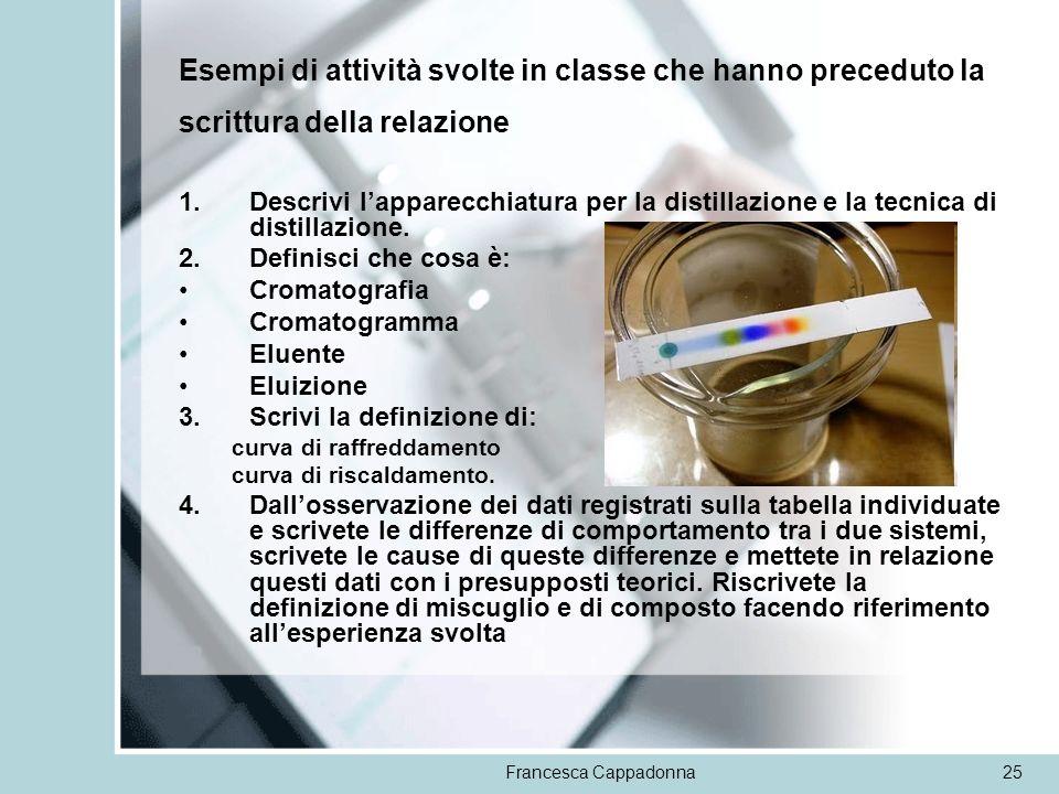 Francesca Cappadonna25 Esempi di attività svolte in classe che hanno preceduto la scrittura della relazione 1.Descrivi lapparecchiatura per la distill