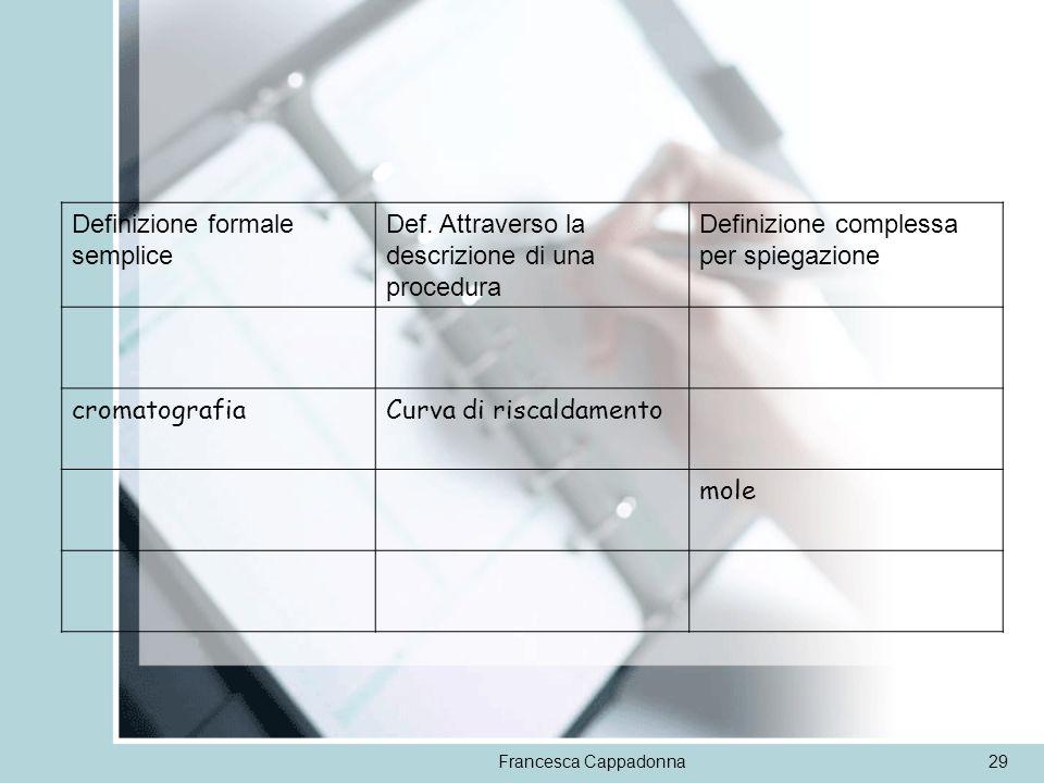 Francesca Cappadonna29 Definizione formale semplice Def. Attraverso la descrizione di una procedura Definizione complessa per spiegazione cromatografi