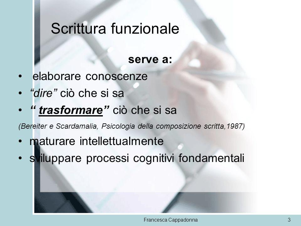 Francesca Cappadonna3 Scrittura funzionale serve a: elaborare conoscenze dire ciò che si sa trasformare ciò che si sa (Bereiter e Scardamalia, Psicolo
