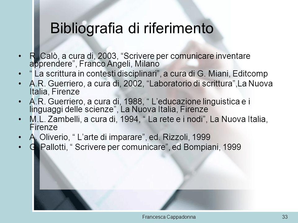 Francesca Cappadonna33 Bibliografia di riferimento R. Calò, a cura di, 2003, Scrivere per comunicare inventare apprendere, Franco Angeli, Milano La sc