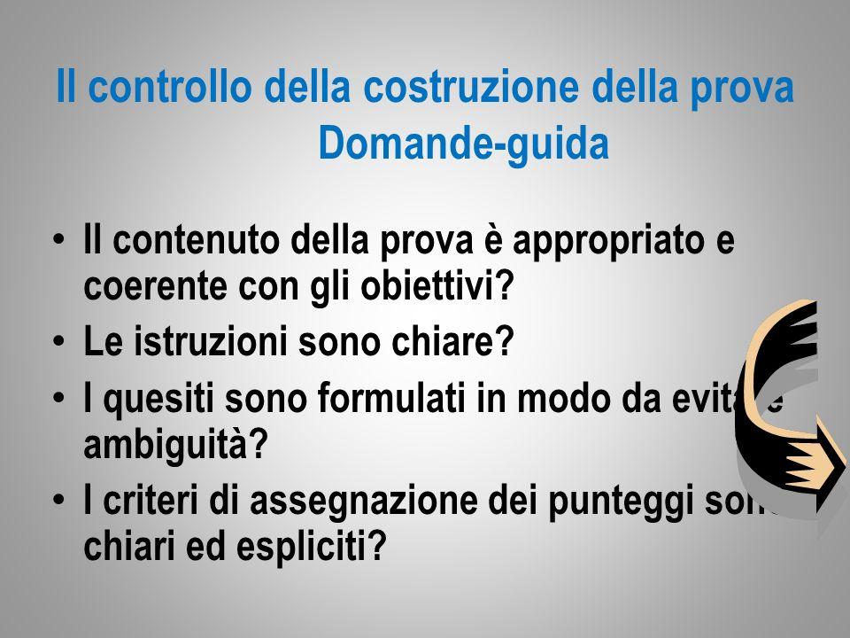 Il controllo della costruzione della prova Domande-guida Il contenuto della prova è appropriato e coerente con gli obiettivi.