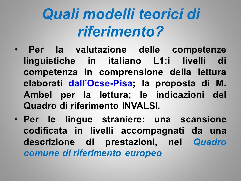 Quali modelli teorici di riferimento.