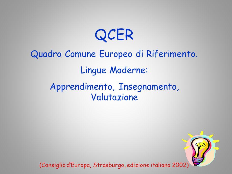 QCER Quadro Comune Europeo di Riferimento.