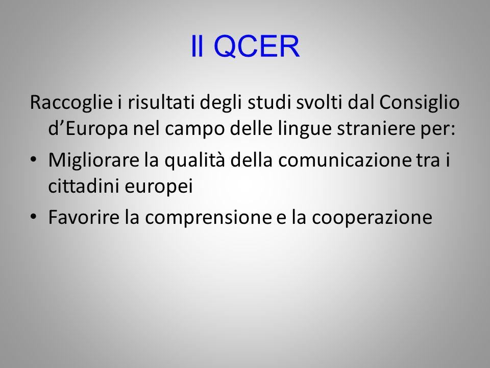 Il QCER Raccoglie i risultati degli studi svolti dal Consiglio dEuropa nel campo delle lingue straniere per: Migliorare la qualità della comunicazione tra i cittadini europei Favorire la comprensione e la cooperazione