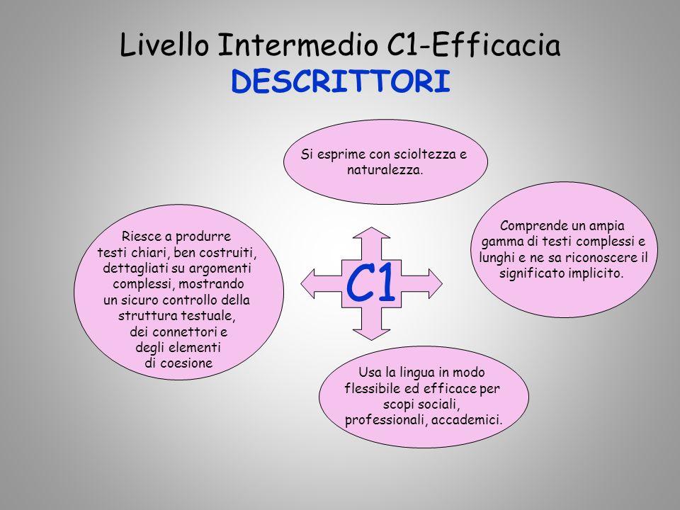 Livello Intermedio C1-Efficacia DESCRITTORI C1 Comprende un ampia gamma di testi complessi e lunghi e ne sa riconoscere il significato implicito.