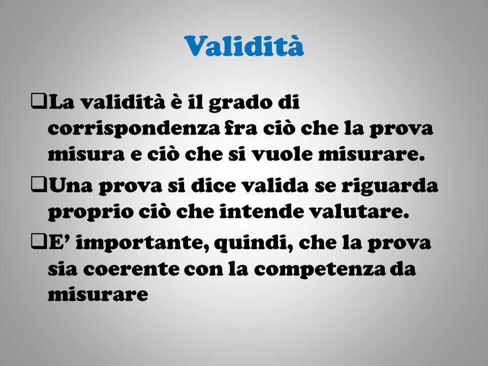 Validità La validità è il grado di corrispondenza fra ciò che la prova misura e ciò che si vuole misurare.