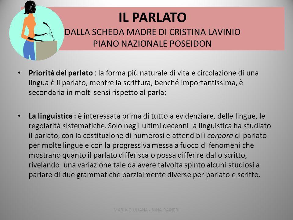 IL PARLATO DALLA SCHEDA MADRE DI CRISTINA LAVINIO PIANO NAZIONALE POSEIDON Priorità del parlato : la forma più naturale di vita e circolazione di una