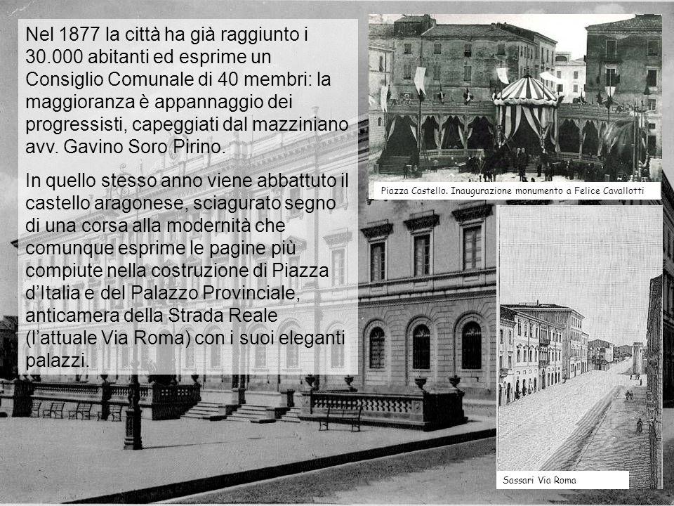 Nel 1877 la città ha già raggiunto i 30.000 abitanti ed esprime un Consiglio Comunale di 40 membri: la maggioranza è appannaggio dei progressisti, cap