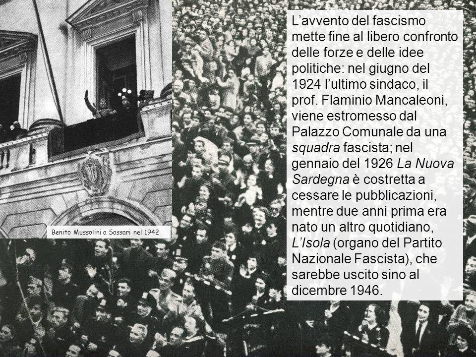 Durante il ventennio fascista Sassari conosce un grande sviluppo delledilizia pubblica e privata.