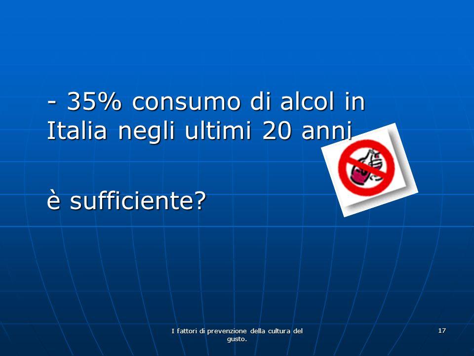I fattori di prevenzione della cultura del gusto. 17 - 35% consumo di alcol in Italia negli ultimi 20 anni è sufficiente?