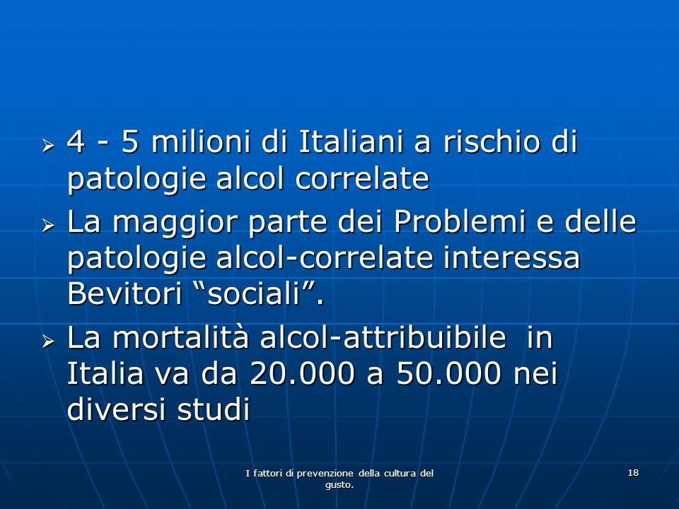 I fattori di prevenzione della cultura del gusto. 18 4 - 5 milioni di Italiani a rischio di patologie alcol correlate 4 - 5 milioni di Italiani a risc