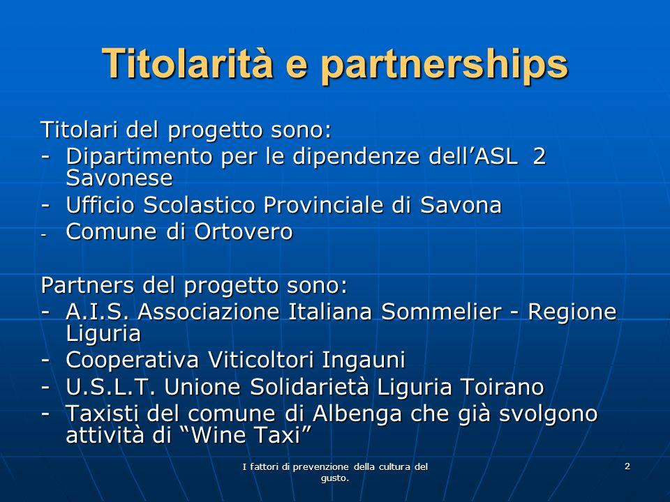 I fattori di prevenzione della cultura del gusto. 2 Titolarità e partnerships Titolari del progetto sono: - Dipartimento per le dipendenze dellASL 2 S