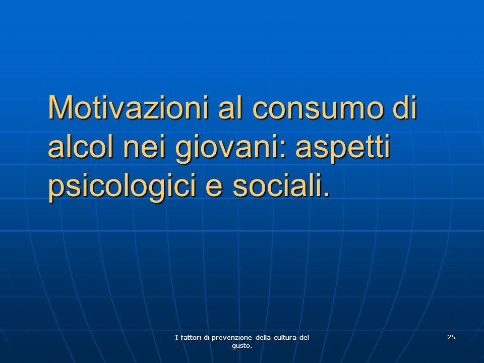 I fattori di prevenzione della cultura del gusto. 25 Motivazioni al consumo di alcol nei giovani: aspetti psicologici e sociali.