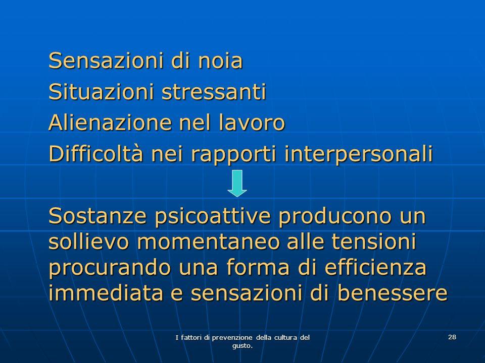 I fattori di prevenzione della cultura del gusto. 28 Sensazioni di noia Situazioni stressanti Alienazione nel lavoro Difficoltà nei rapporti interpers
