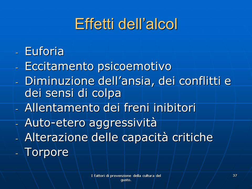 I fattori di prevenzione della cultura del gusto. 37 Effetti dellalcol - Euforia - Eccitamento psicoemotivo - Diminuzione dellansia, dei conflitti e d