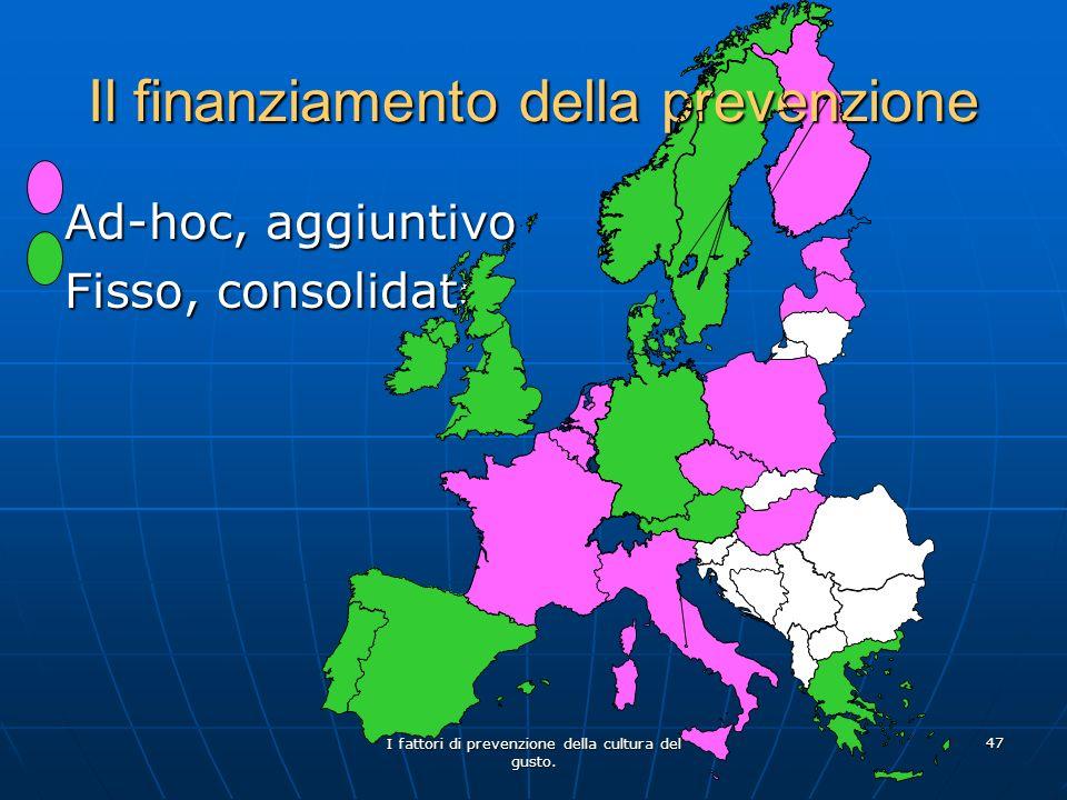 I fattori di prevenzione della cultura del gusto. 47 Il finanziamento della prevenzione Ad-hoc, aggiuntivo Fisso, consolidato