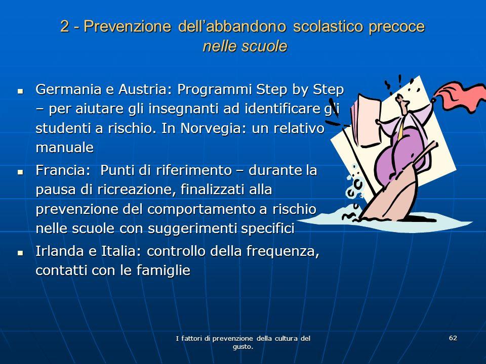 I fattori di prevenzione della cultura del gusto. 62 2 - Prevenzione dellabbandono scolastico precoce nelle scuole Germania e Austria: Programmi Step