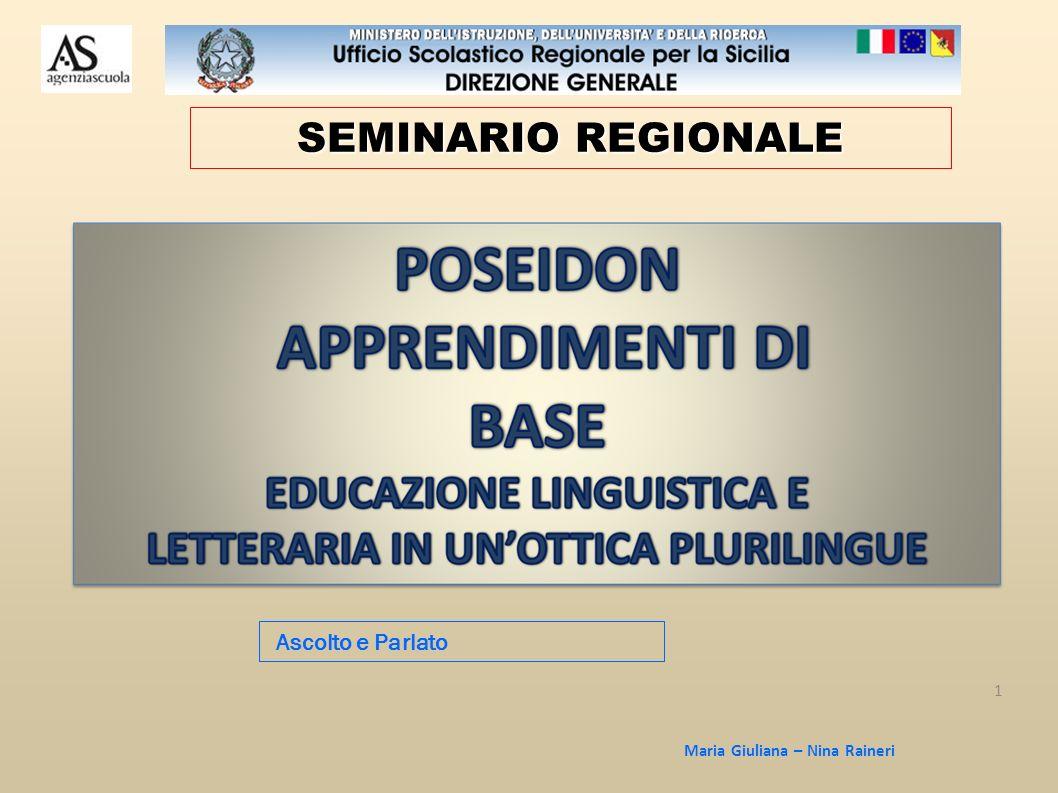 Maria Giuliana – Nina Raineri 1 Ascolto e Parlato SEMINARIO REGIONALE
