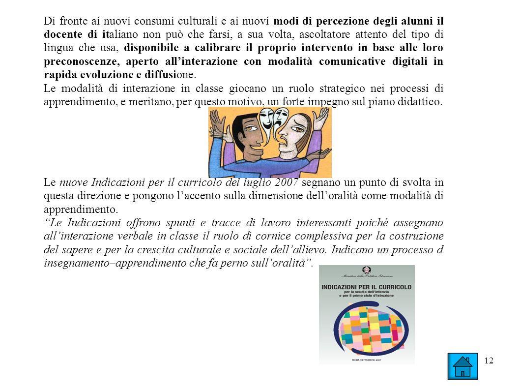 12 Di fronte ai nuovi consumi culturali e ai nuovi modi di percezione degli alunni il docente di italiano non può che farsi, a sua volta, ascoltatore