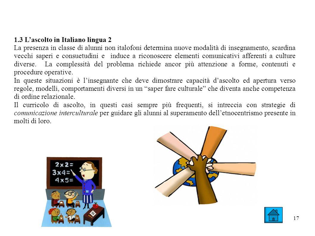 17 1.3 Lascolto in Italiano lingua 2 La presenza in classe di alunni non italofoni determina nuove modalità di insegnamento, scardina vecchi saperi e