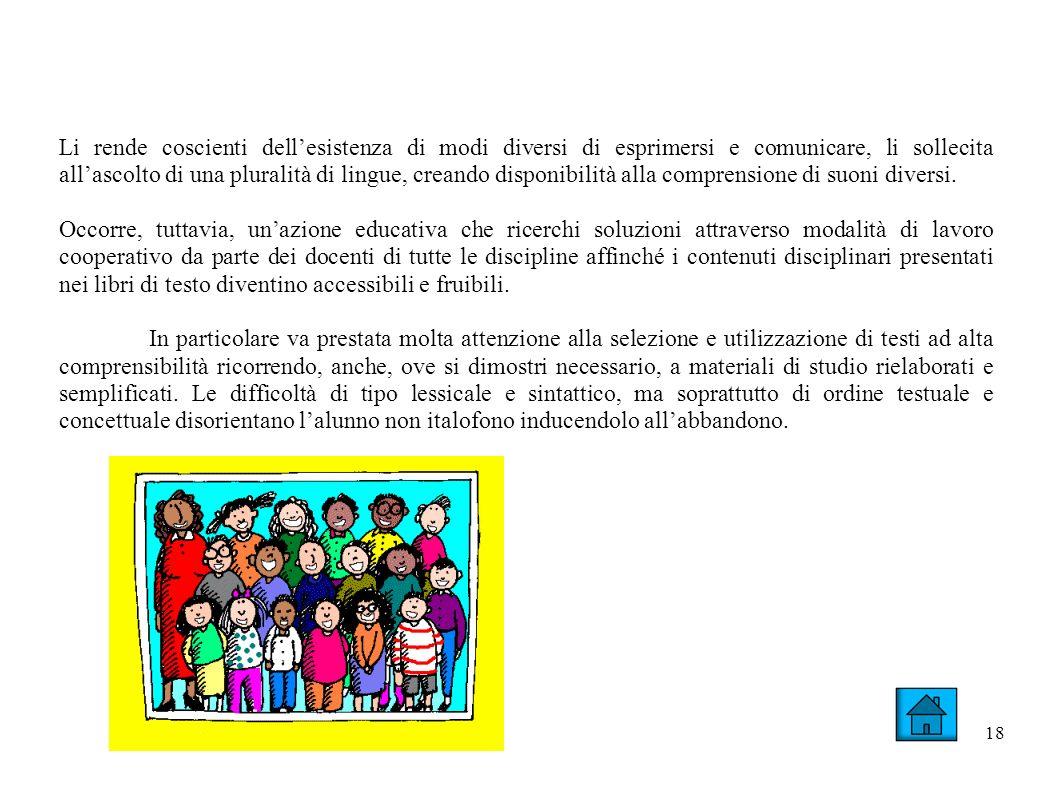18 Li rende coscienti dellesistenza di modi diversi di esprimersi e comunicare, li sollecita allascolto di una pluralità di lingue, creando disponibilità alla comprensione di suoni diversi.