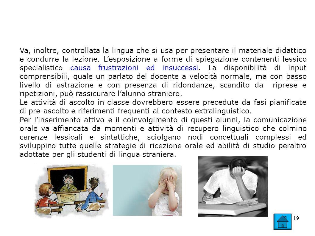 19 Va, inoltre, controllata la lingua che si usa per presentare il materiale didattico e condurre la lezione. Lesposizione a forme di spiegazione cont