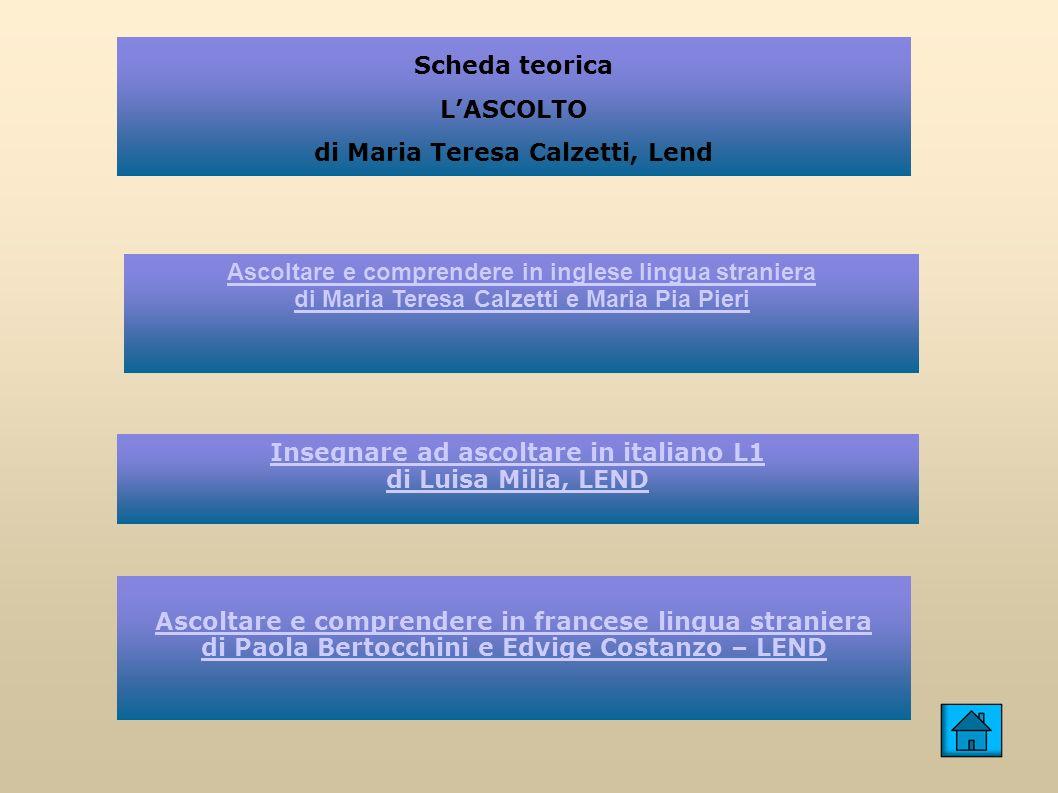 Scheda teorica LASCOLTO di Maria Teresa Calzetti, Lend Ascoltare e comprendere in inglese lingua straniera di Maria Teresa Calzetti e Maria Pia Pieri Insegnare ad ascoltare in italiano L1 di Luisa Milia, LEND Ascoltare e comprendere in francese lingua straniera di Paola Bertocchini e Edvige Costanzo – LEND