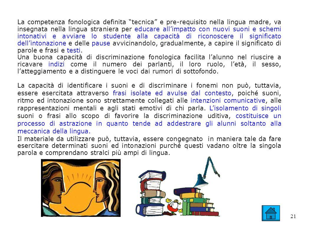 21 La competenza fonologica definita tecnica e pre-requisito nella lingua madre, va insegnata nella lingua straniera per educare allimpatto con nuovi