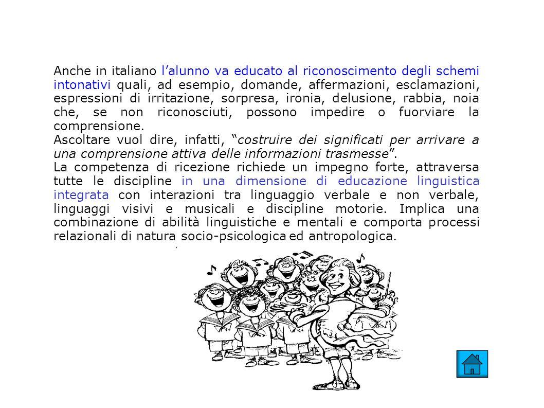 Anche in italiano lalunno va educato al riconoscimento degli schemi intonativi quali, ad esempio, domande, affermazioni, esclamazioni, espressioni di