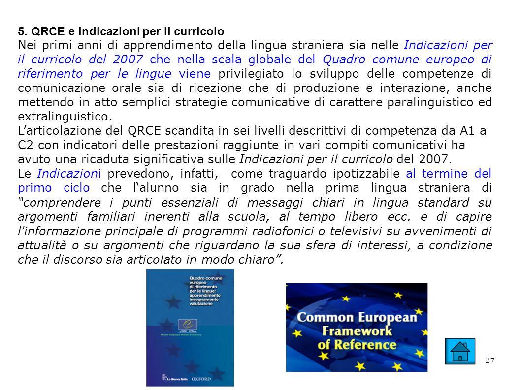 27 5. QRCE e Indicazioni per il curricolo Nei primi anni di apprendimento della lingua straniera sia nelle Indicazioni per il curricolo del 2007 che n