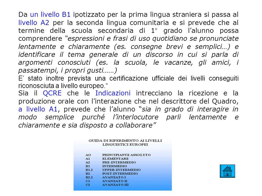 Da un livello B1 ipotizzato per la prima lingua straniera si passa al livello A2 per la seconda lingua comunitaria e si prevede che al termine della s