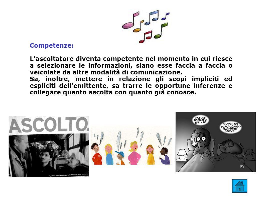 Competenze: Lascoltatore diventa competente nel momento in cui riesce a selezionare le informazioni, siano esse faccia a faccia o veicolate da altre m