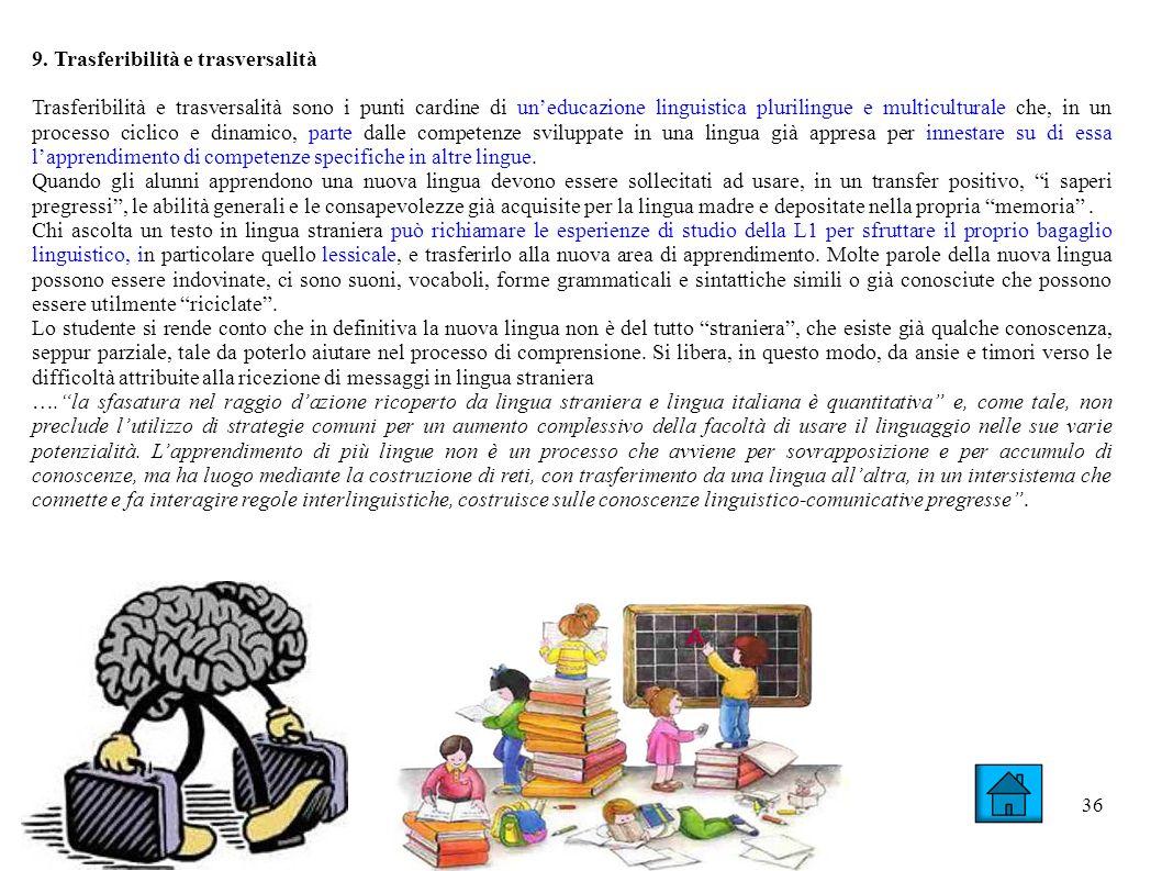 36 9. Trasferibilità e trasversalità Trasferibilità e trasversalità sono i punti cardine di uneducazione linguistica plurilingue e multiculturale che,