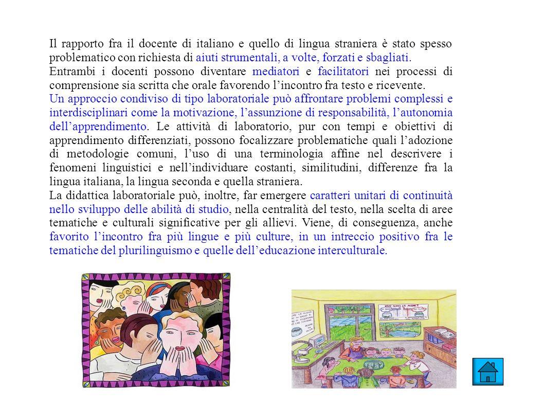 Il rapporto fra il docente di italiano e quello di lingua straniera è stato spesso problematico con richiesta di aiuti strumentali, a volte, forzati e
