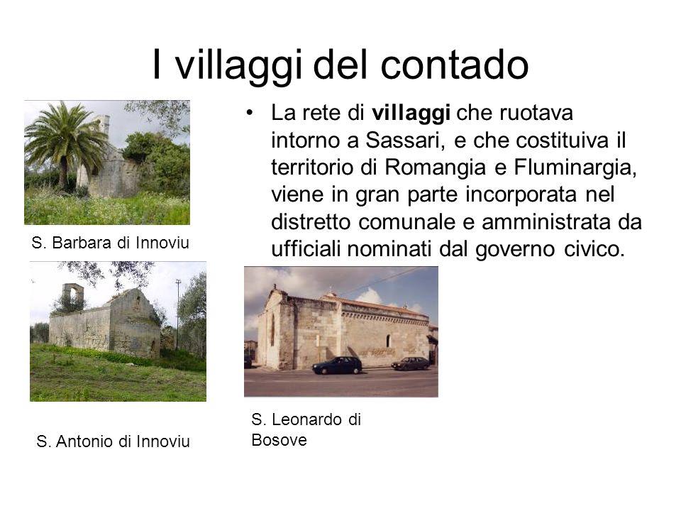 I villaggi del contado La rete di villaggi che ruotava intorno a Sassari, e che costituiva il territorio di Romangia e Fluminargia, viene in gran part