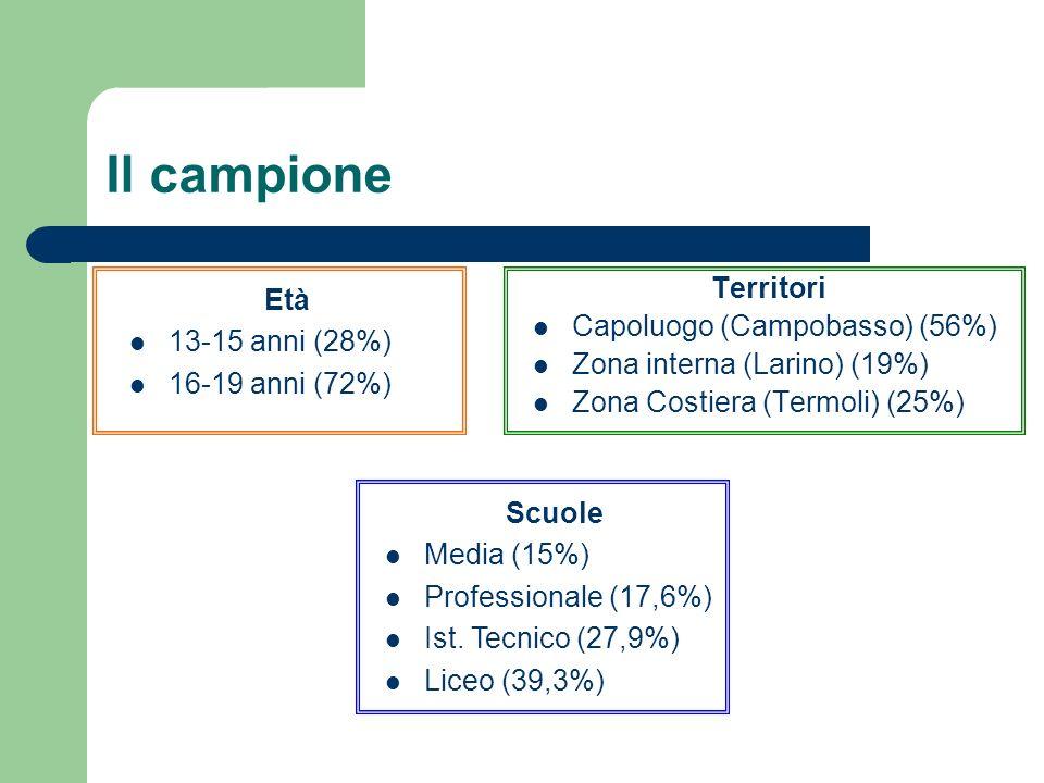 Il campione Territori Capoluogo (Campobasso) (56%) Zona interna (Larino) (19%) Zona Costiera (Termoli) (25%) Età 13-15 anni (28%) 16-19 anni (72%) Scuole Media (15%) Professionale (17,6%) Ist.