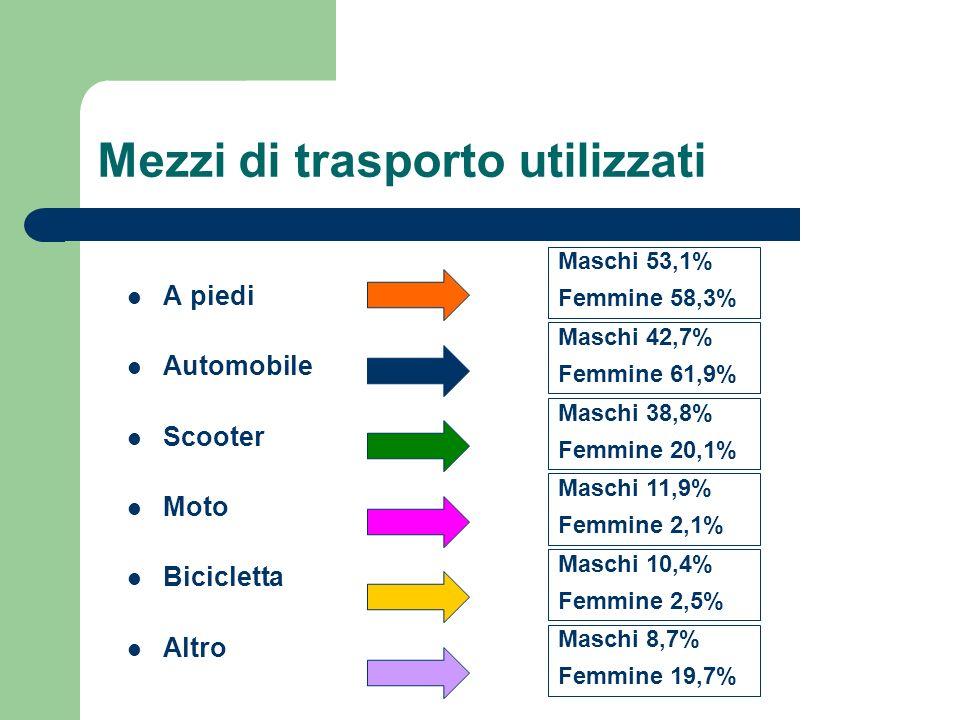 Mezzi di trasporto utilizzati A piedi Automobile Scooter Moto Bicicletta Altro Maschi 53,1% Femmine 58,3% Maschi 42,7% Femmine 61,9% Maschi 38,8% Femmine 20,1% Maschi 11,9% Femmine 2,1% Maschi 10,4% Femmine 2,5% Maschi 8,7% Femmine 19,7%