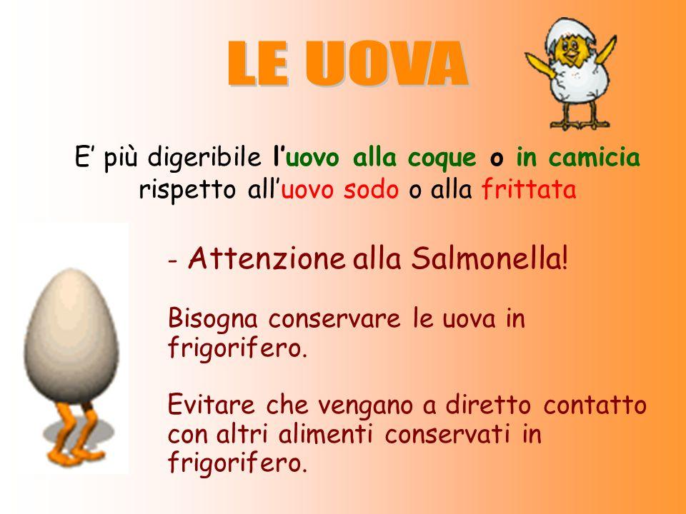 E più digeribile luovo alla coque o in camicia rispetto alluovo sodo o alla frittata - Attenzione alla Salmonella! Bisogna conservare le uova in frigo