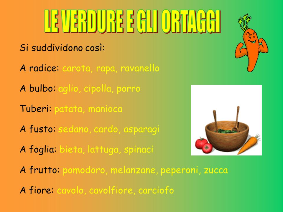 Si suddividono così: A radice: carota, rapa, ravanello A bulbo: aglio, cipolla, porro Tuberi: patata, manioca A fusto: sedano, cardo, asparagi A foglia: bieta, lattuga, spinaci A frutto: pomodoro, melanzane, peperoni, zucca A fiore: cavolo, cavolfiore, carciofo
