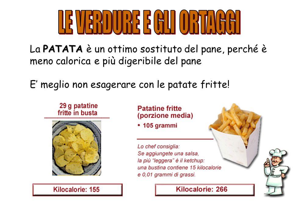 PATATA La PATATA è un ottimo sostituto del pane, perché è meno calorica e più digeribile del pane E meglio non esagerare con le patate fritte!