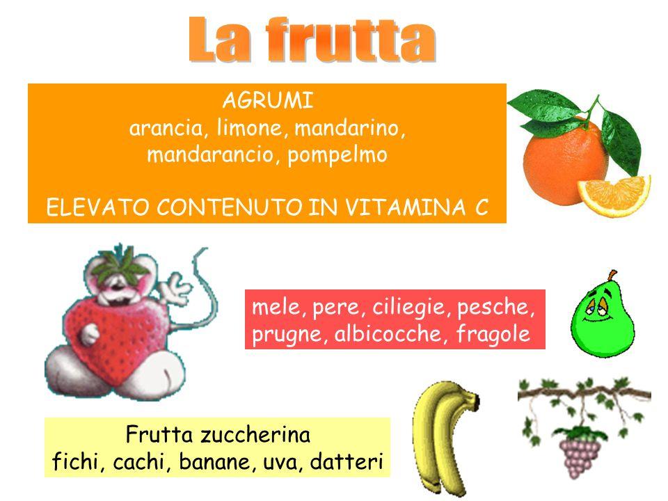AGRUMI arancia, limone, mandarino, mandarancio, pompelmo ELEVATO CONTENUTO IN VITAMINA C mele, pere, ciliegie, pesche, prugne, albicocche, fragole Frutta zuccherina fichi, cachi, banane, uva, datteri