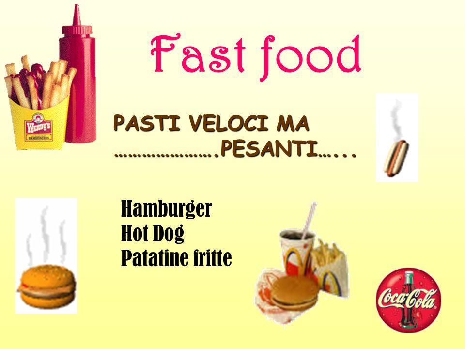 Fast food PASTI VELOCI MA ………………….PESANTI…... Hamburger Hot Dog Patatine fritte