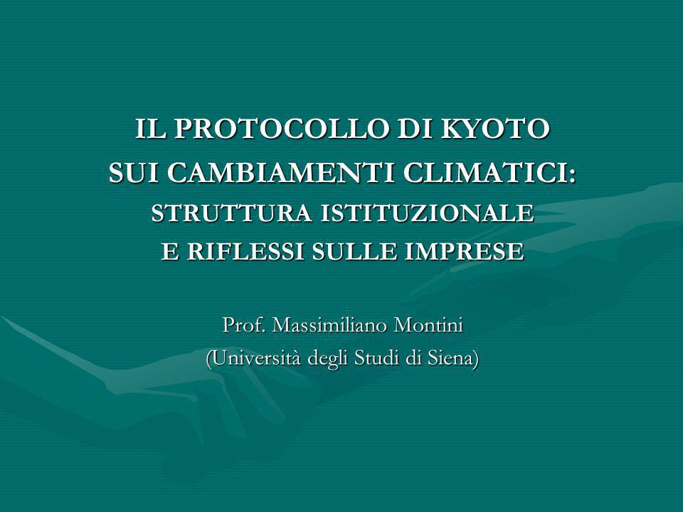 IL PROTOCOLLO DI KYOTO SUI CAMBIAMENTI CLIMATICI: STRUTTURA ISTITUZIONALE E RIFLESSI SULLE IMPRESE Prof. Massimiliano Montini (Università degli Studi